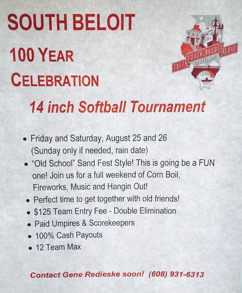14 Inch Softball Tournament - South Beloit Centennial Celebration @ South Beloit City Park | South Beloit | Illinois | United States